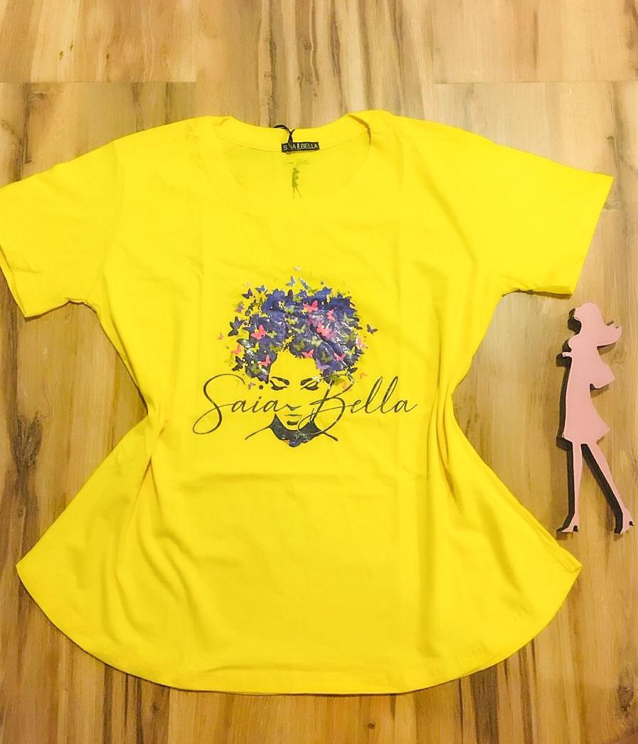 T-shirt Saia Bella Borboletas SB905 Amarelo