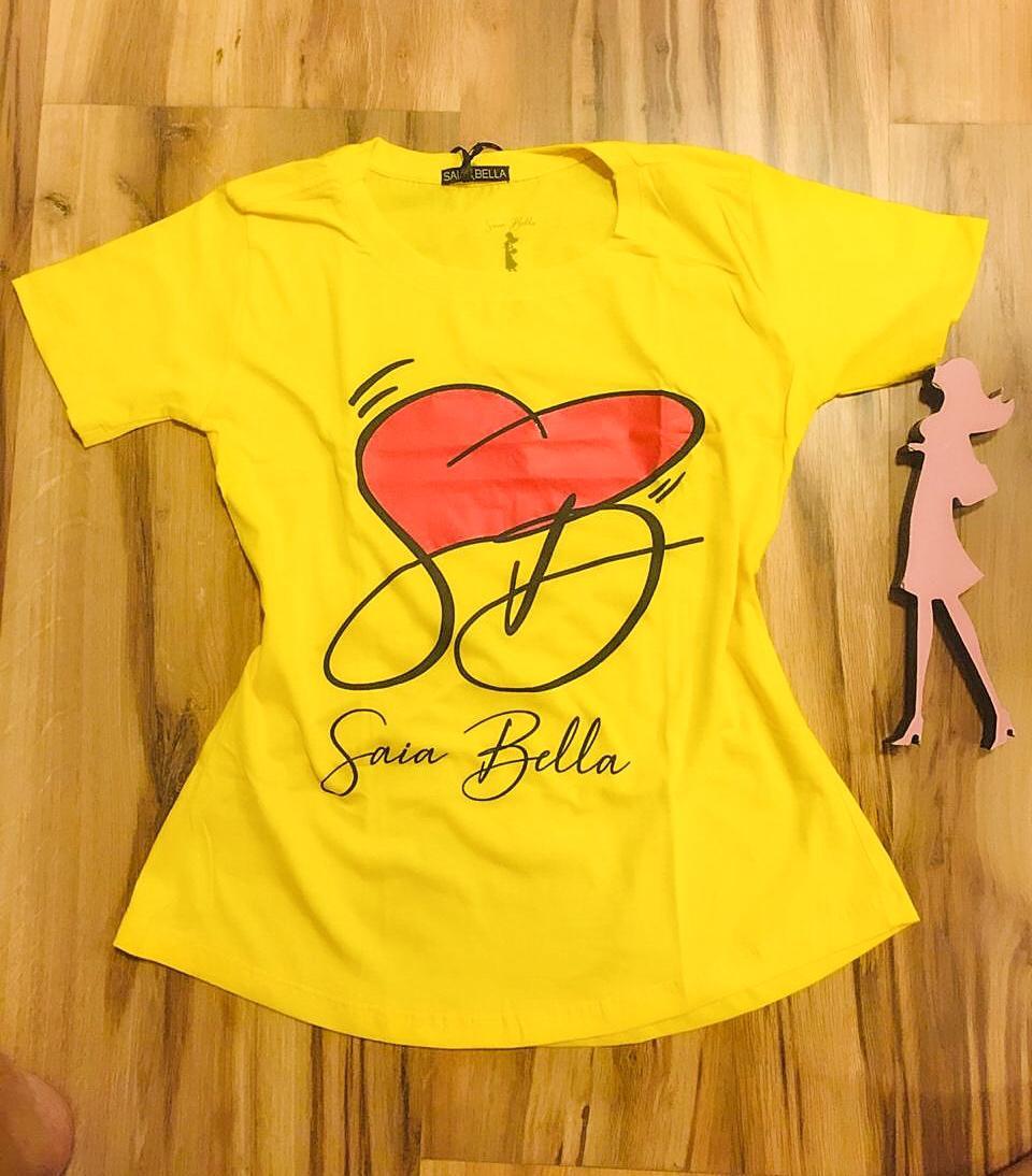T-shirt Saia Bella Coração de Bella SB900 Amarelo