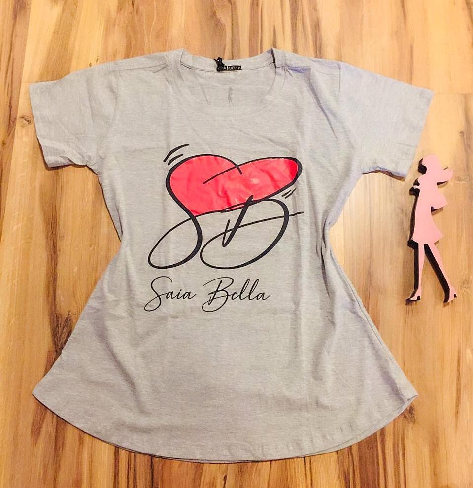 T-shirt Saia Bella Coração de Bella SB900 Cinza