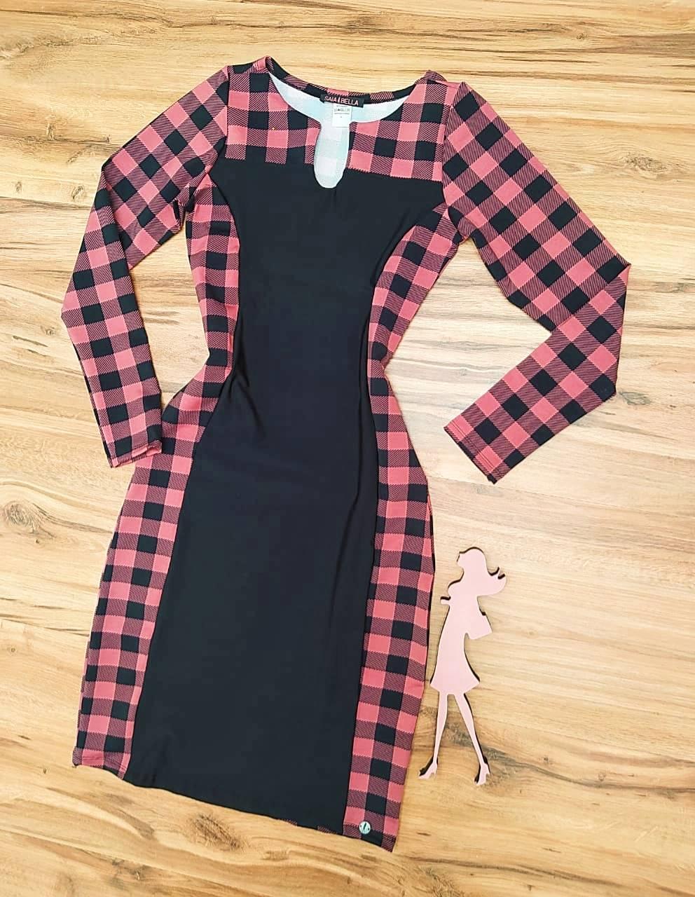Vestido Adriele Tubinho manga longa Saia Bella SB2908805 Rose