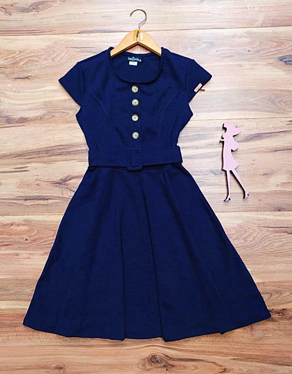 Vestido Ana Saia Bella  SRB7790 Azul Marinho