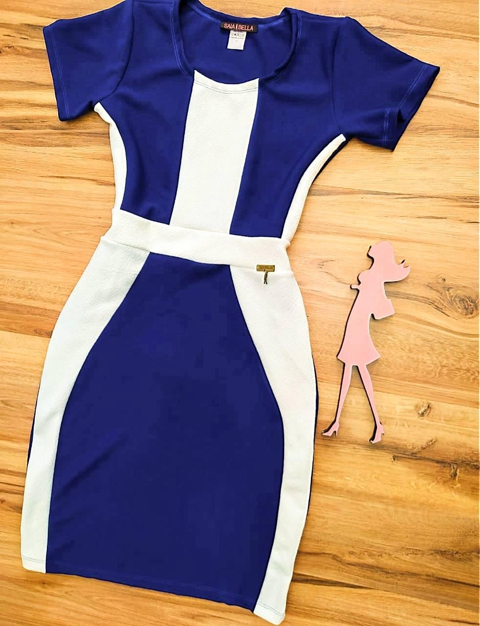 Vestido Brenda modelo Tubinho Saia Bella SB774010 - Azul