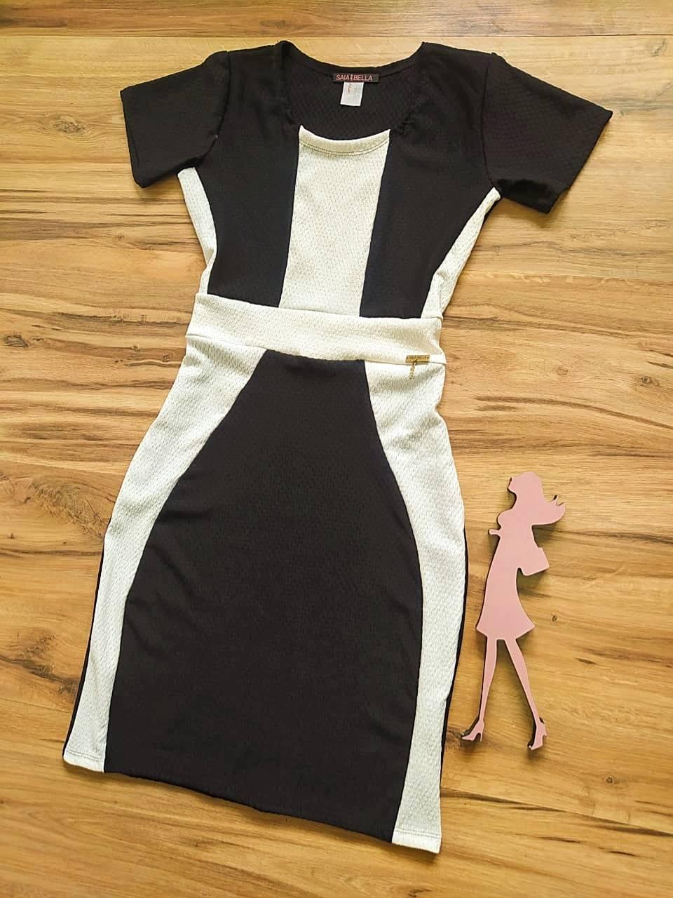 Vestido Brenda modelo Tubinho Saia Bella SB774010 - Preto