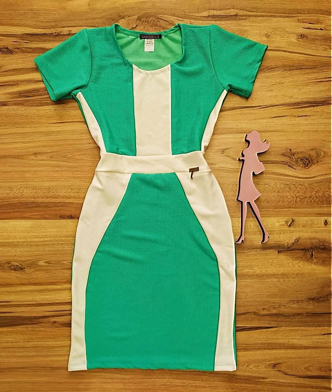 Vestido Brenda modelo Tubinho Saia Bella SB774010 - Verde