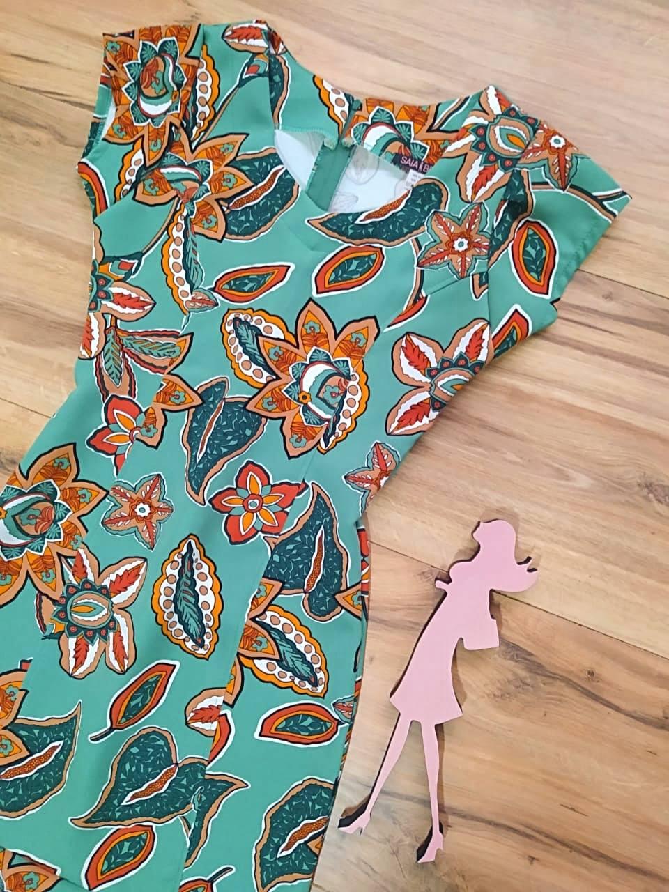 Vestido Crepe Ayla  Saia Bella SB5130 - Verde