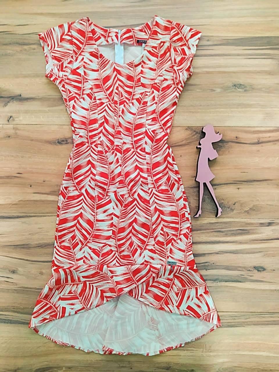 Vestido Crepe Ayla  Saia Bella SB5130 - Vermelho