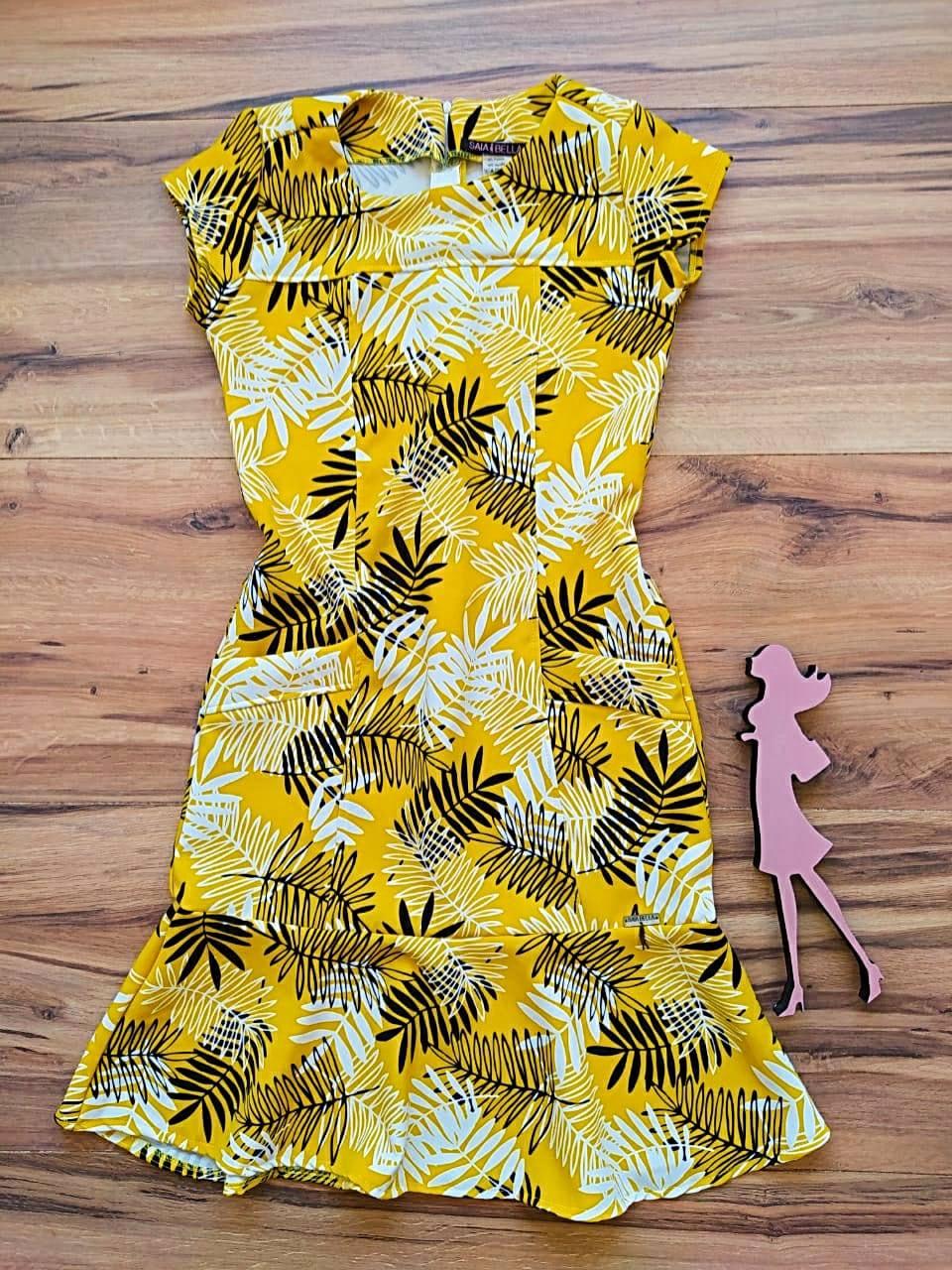 Vestido Crepe Coren  Saia Bella SB5121 - Amarelo