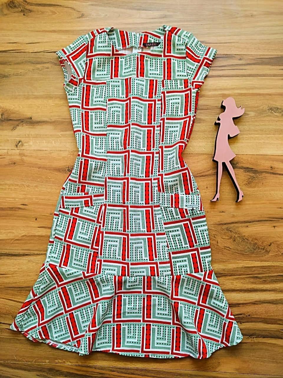 Vestido Crepe Coren  Saia Bella SB5120 - B