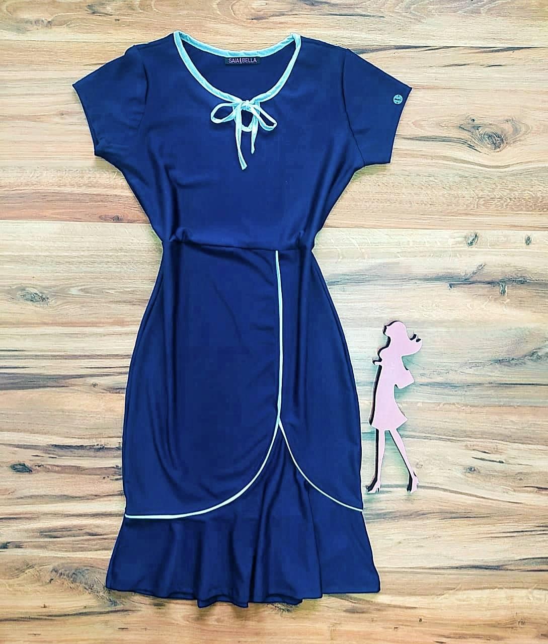 Vestido Cristina Peplum Saia Bella SB504106 Azul