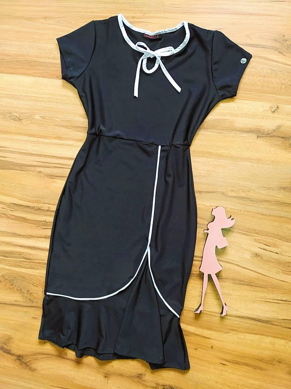 Vestido Cristina Peplum Saia Bella SB504106 Preto