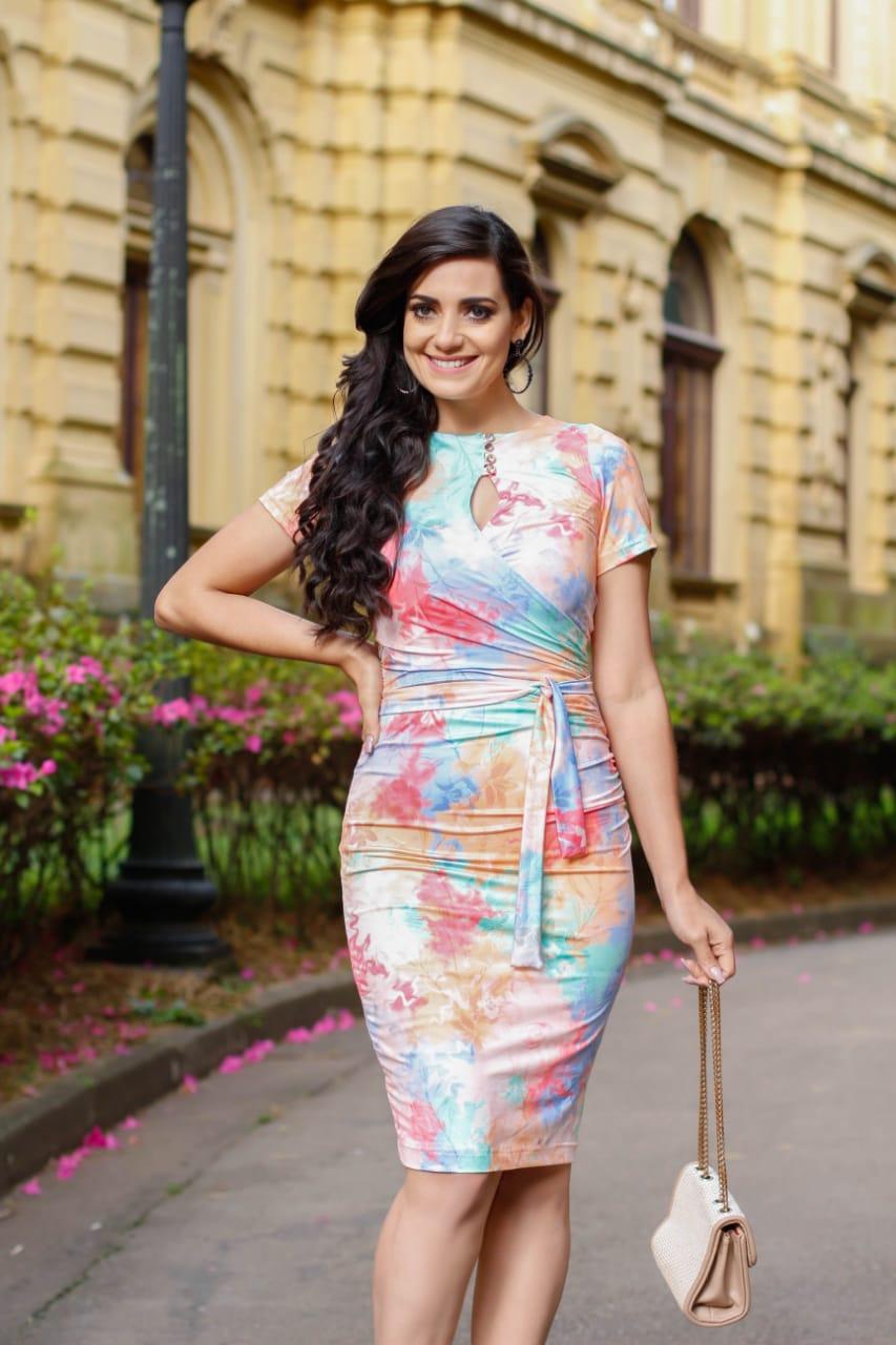 Vestido Drapeado Karem Rosado SBL1823