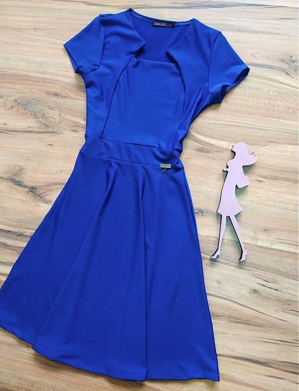Vestido Emilly Midi Liso Saia Bella SB5014100 Azul Royal