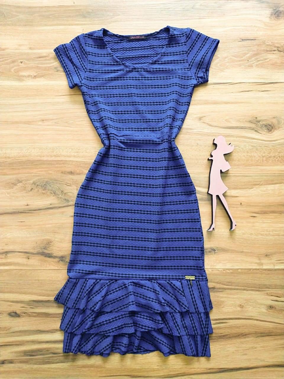 Vestido Marina Peplum Saia Bella SB774011 - Azul