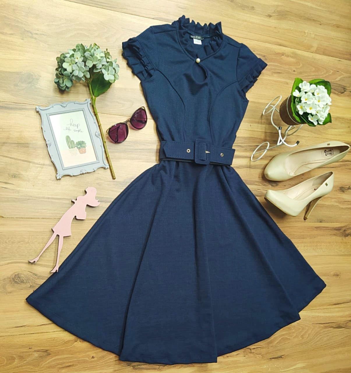 Vestido Evasê Antonella Saia Bella  SRB7778 Azul Marinho