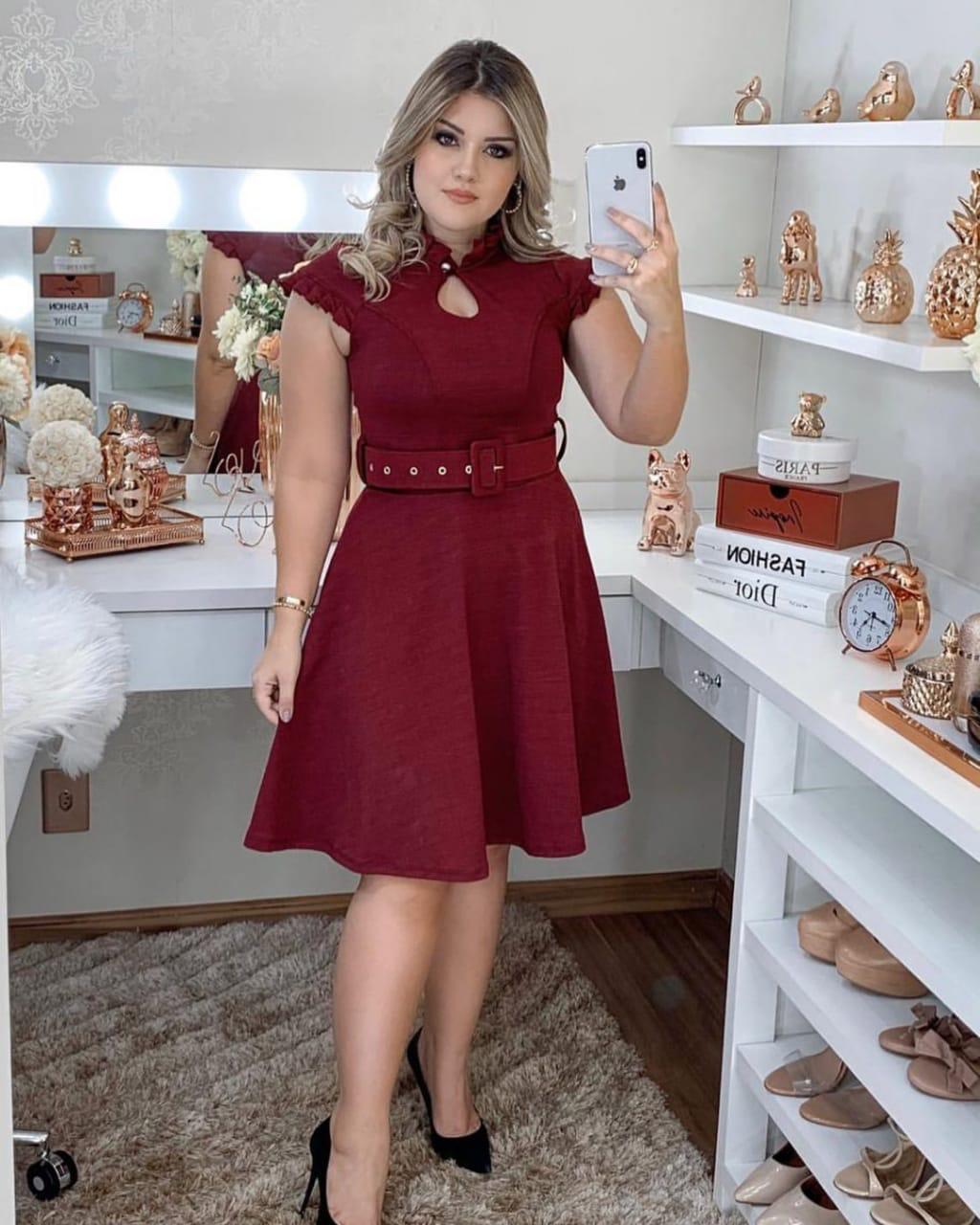 Vestido Evasê Antonella Saia Bella  SRB7778 Marsala