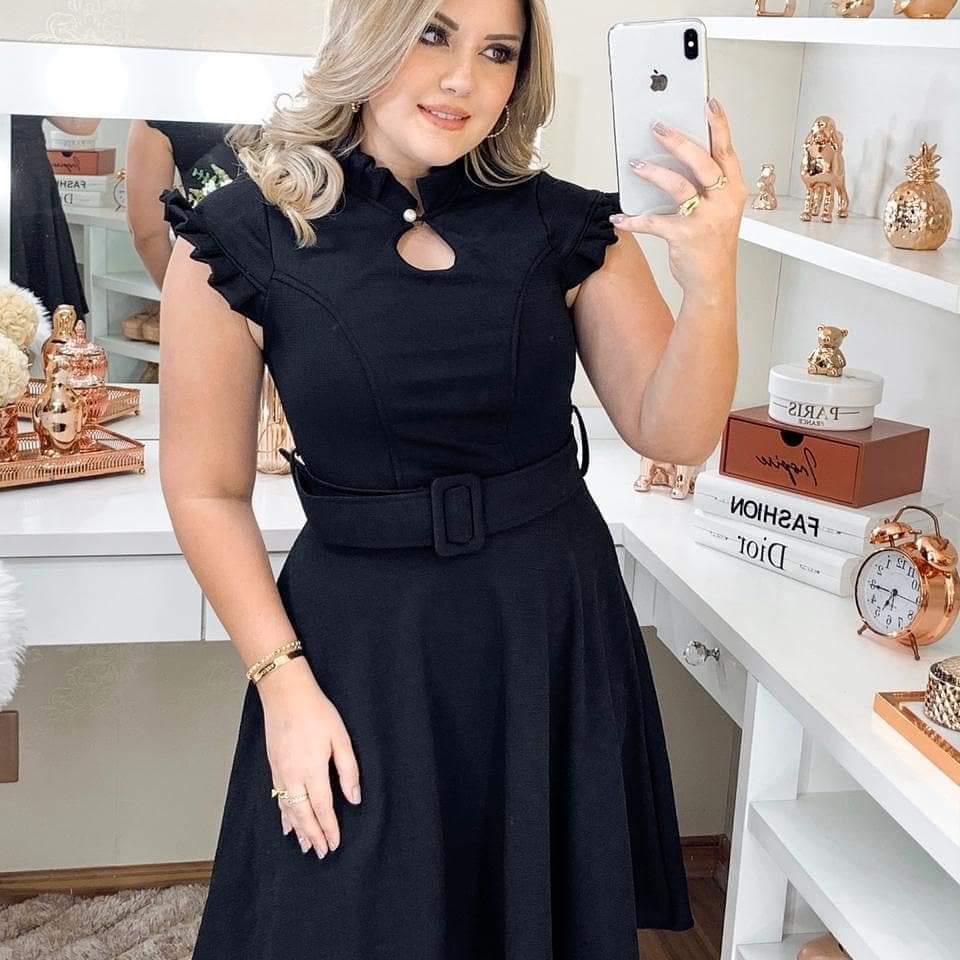 Vestido Evasê Antonella Saia Bella  SRB7778 Preto