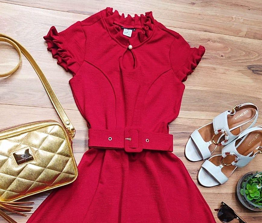 Vestido Evasê Antonella Saia Bella  SRB7778 Vermelho