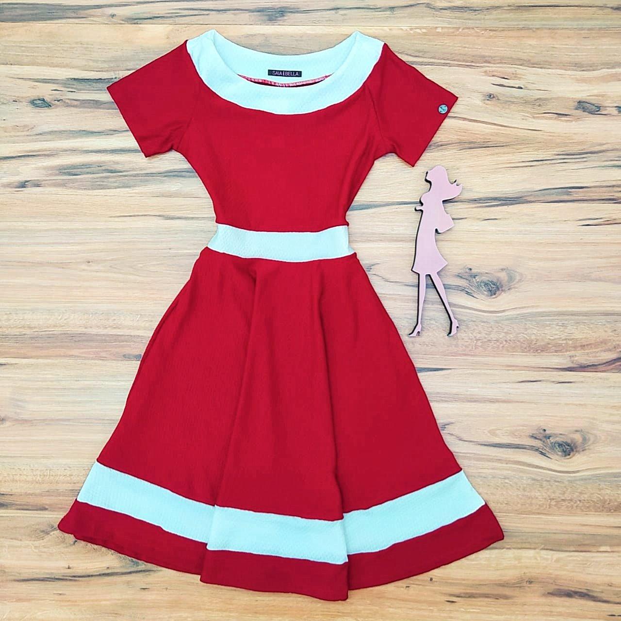 Vestido Evasê Ashley Saia Bella  SB5137 Vermelho