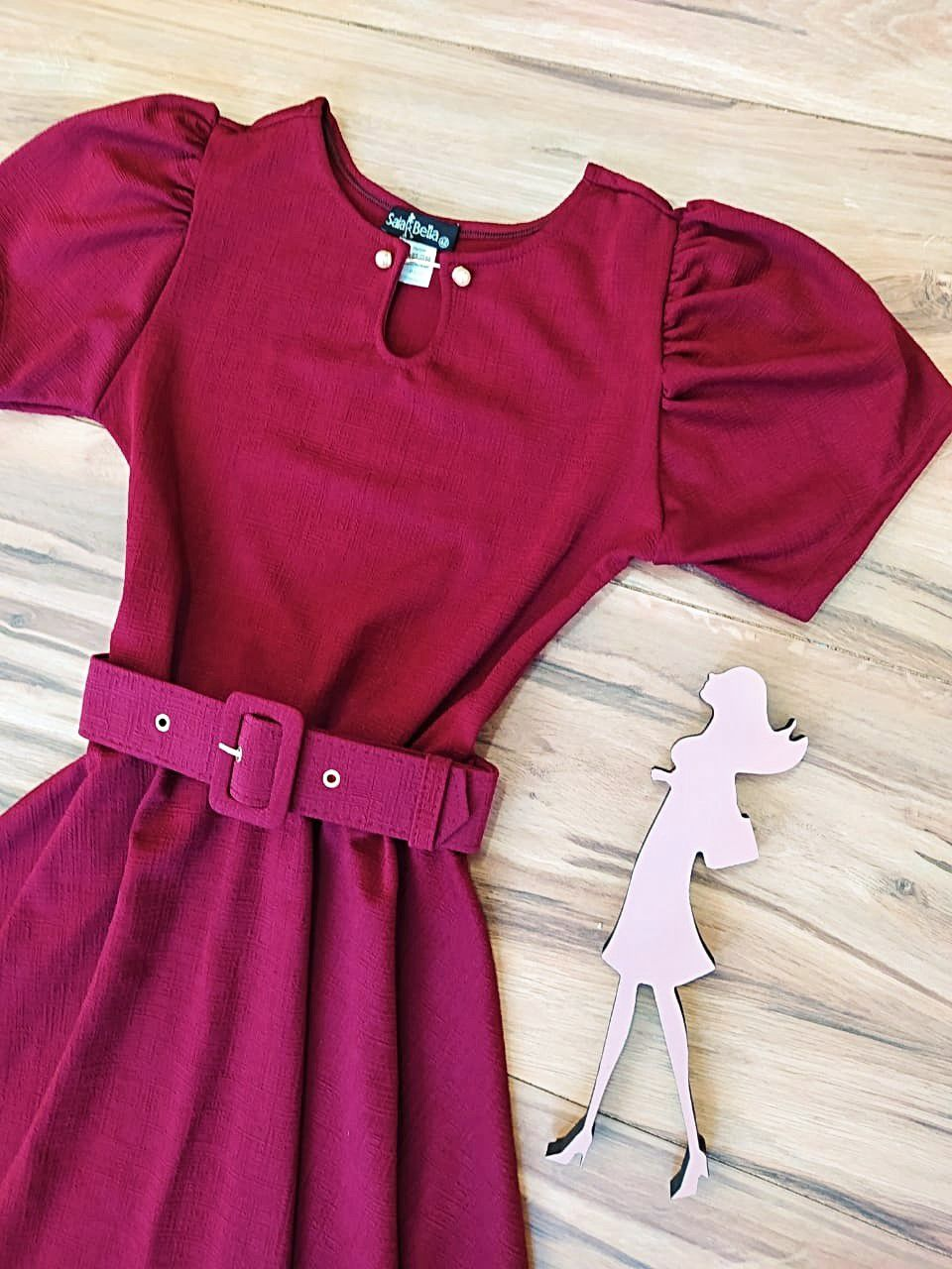 Vestido Evasê Dayana Saia Bella  SRB7980 Marsala