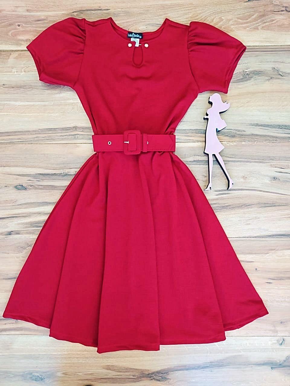 Vestido Evasê Dayana Saia Bella  SRB7980 Vermelho