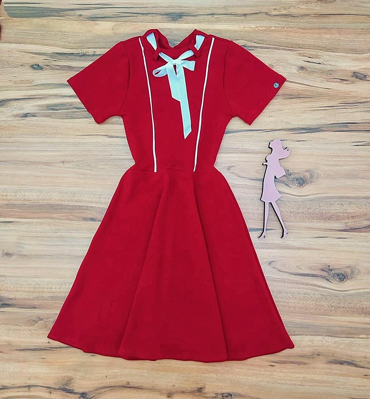 Vestido Evasê Ester Saia Bella  SB5138 Vermelho