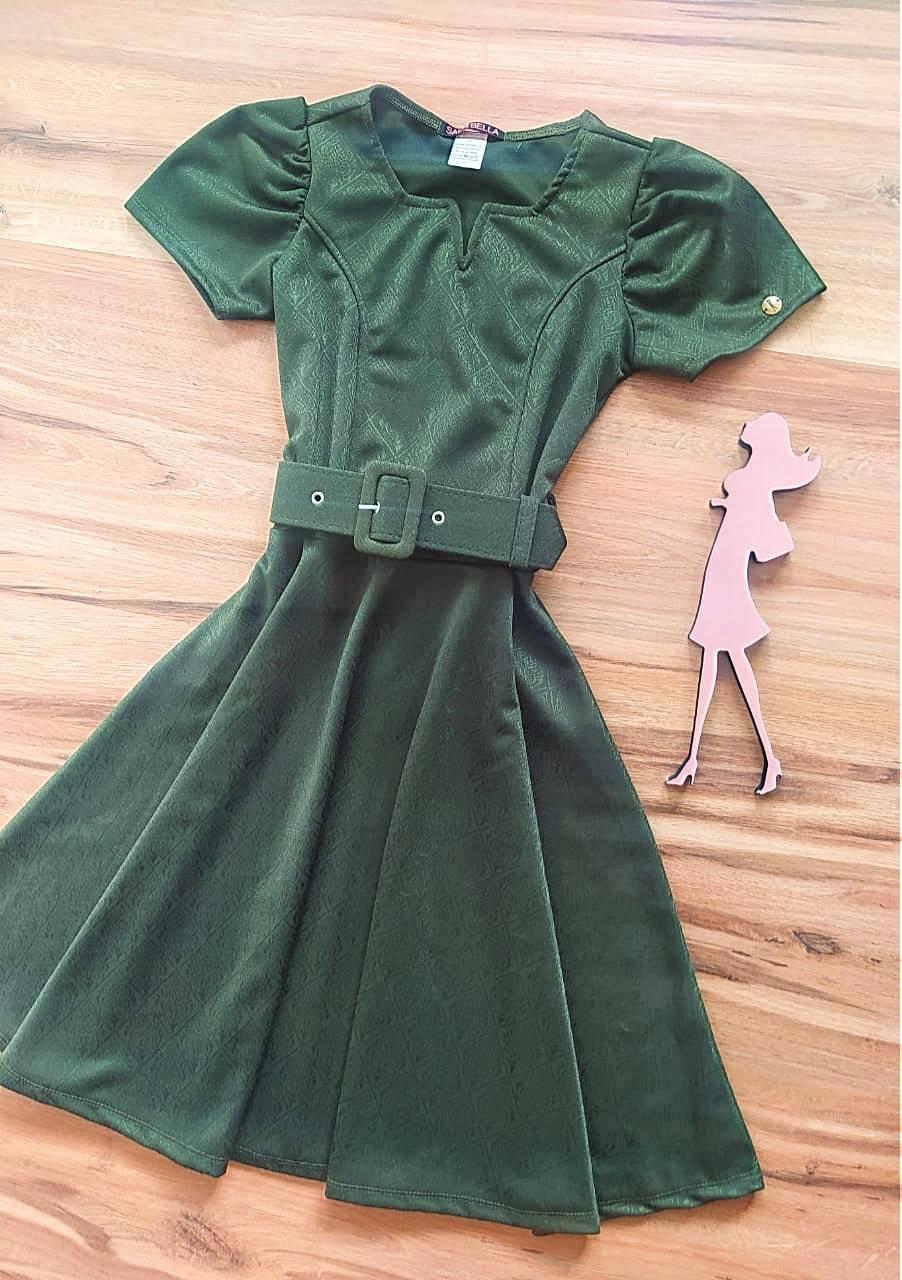 Vestido Evasê Juliette Saia Bella  SRB87770 Verde