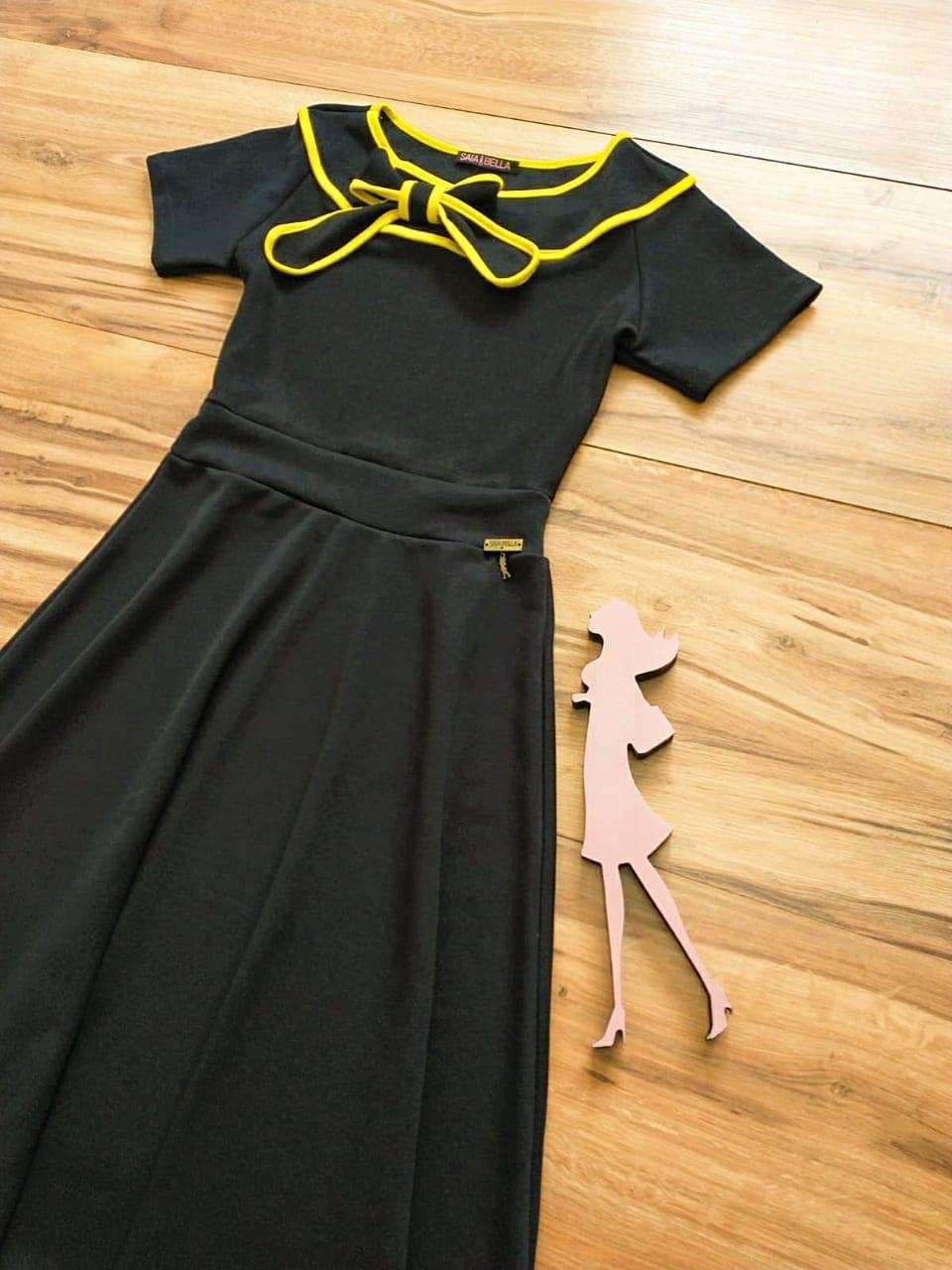 Vestido Evasê Marry Saia Bella  SRB79930 Preto