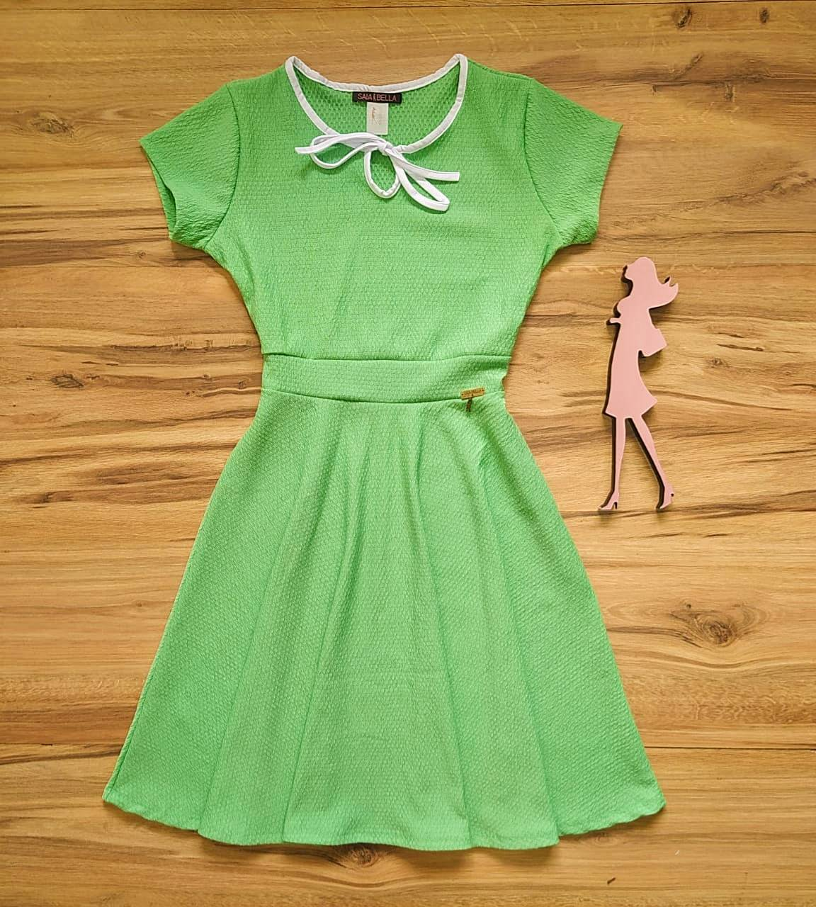 Vestido Evasê Megan Saia Bella  SRB79900 Verde água