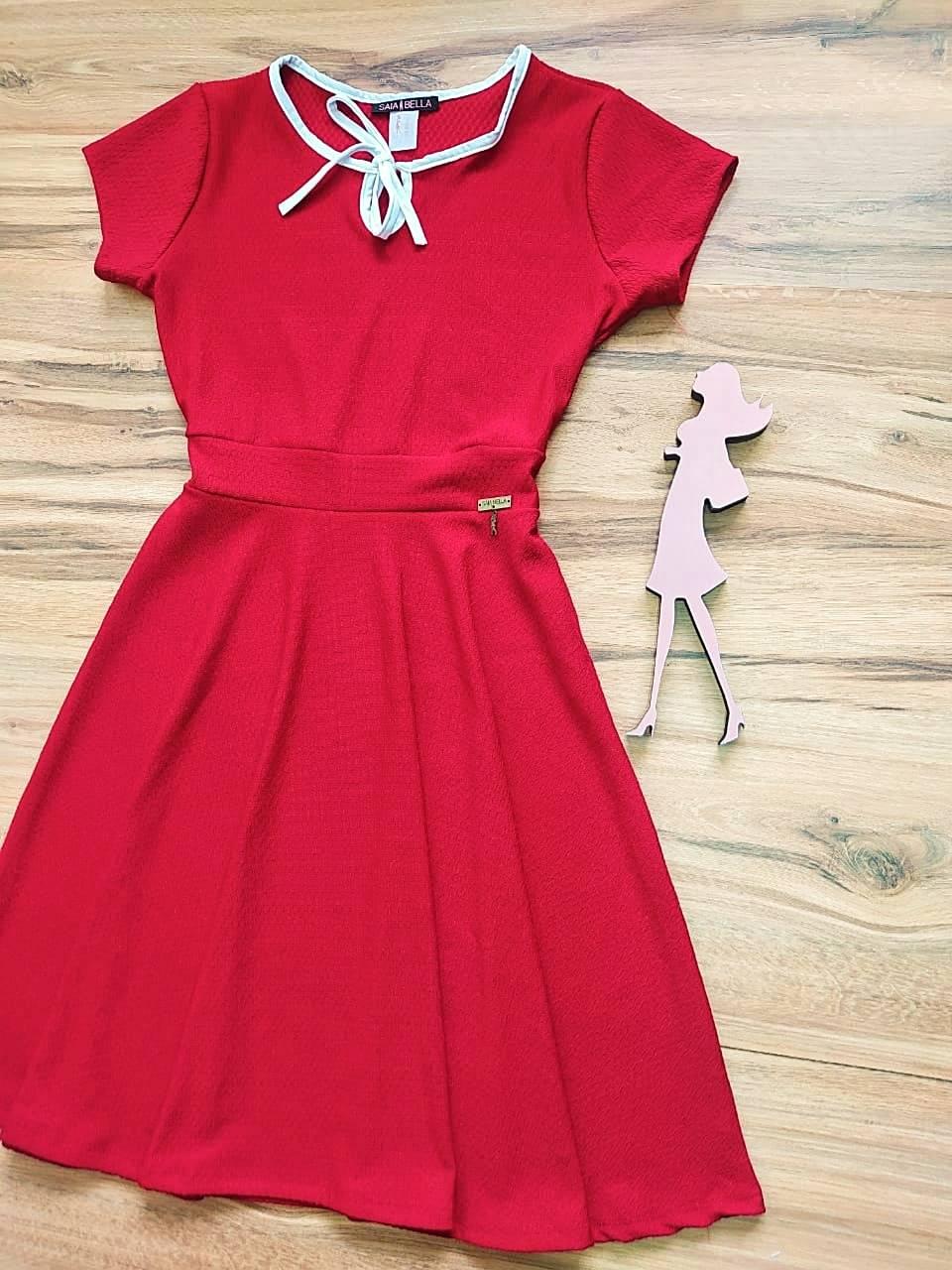 Vestido Evasê Megan Saia Bella  SRB79900 Vermelho