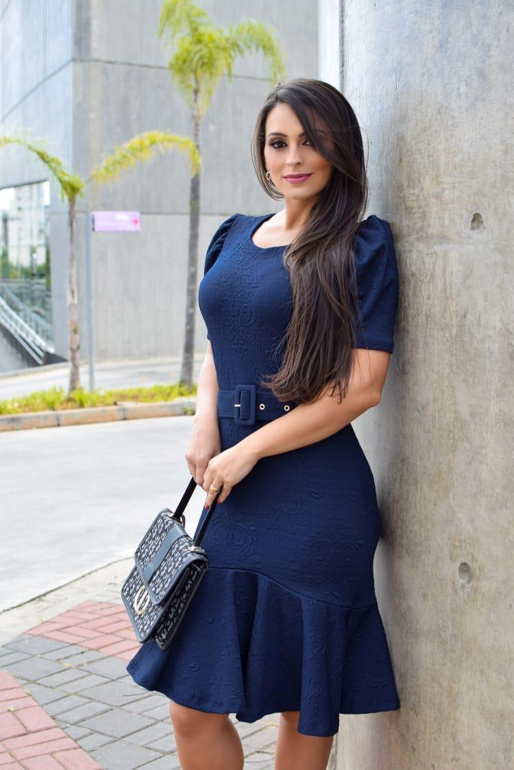 Vestido Gabriela em Peplum Liso Saia Bella  SB877 Azul Marinho