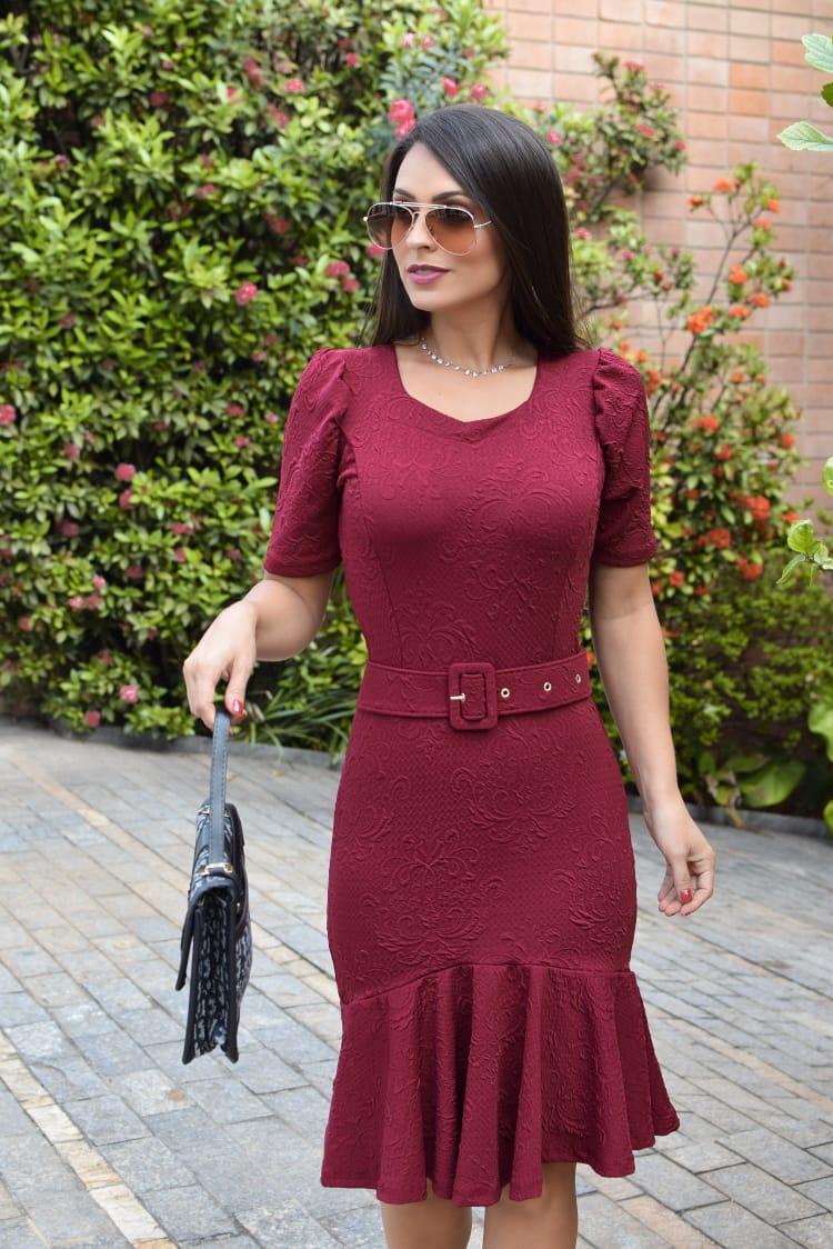 Vestido Gabriela em Peplum Liso Saia Bella  SB877 Marsala
