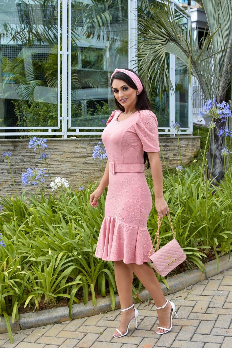 Vestido Gabriela em Peplum Liso Saia Bella  SB877 Rosê