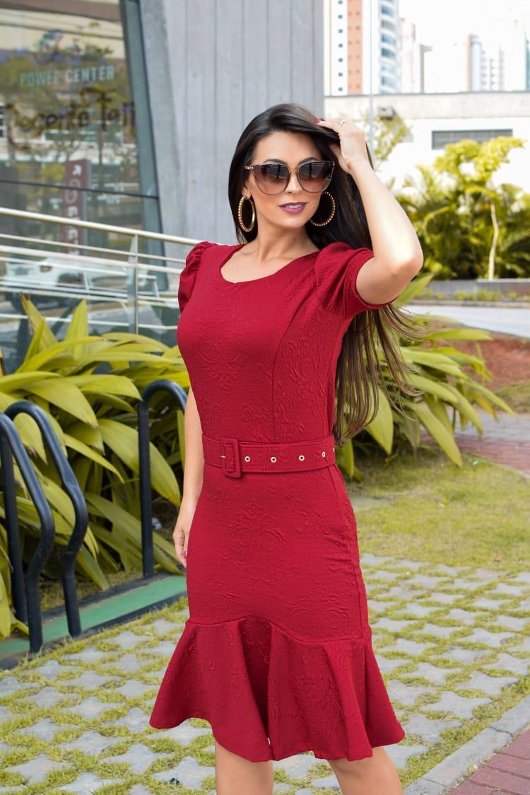 Vestido Gabriela em Peplum Liso Saia Bella  SB877 Vermelho