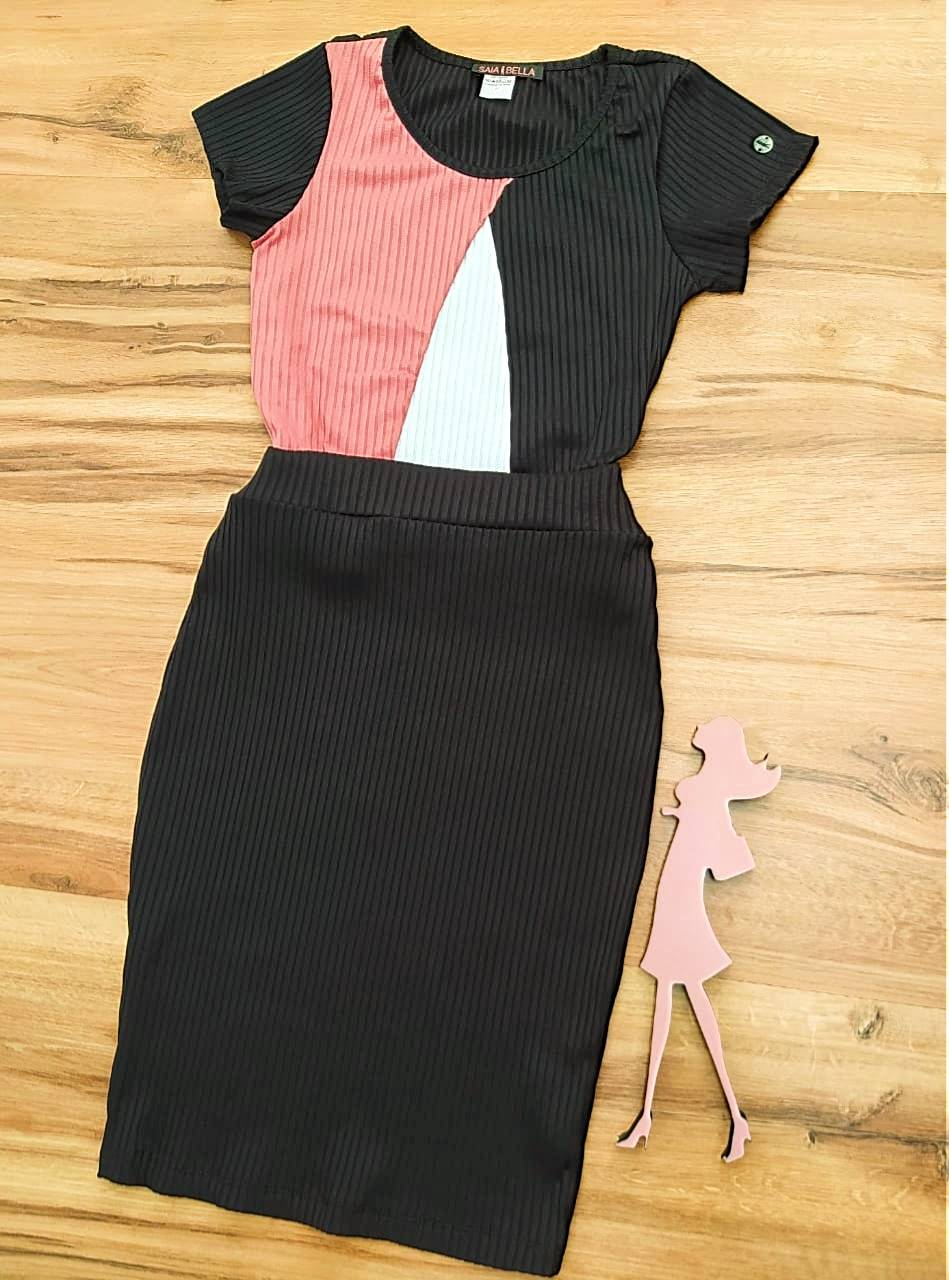 Vestido Hanna Saia Bella - SB700099_Preto