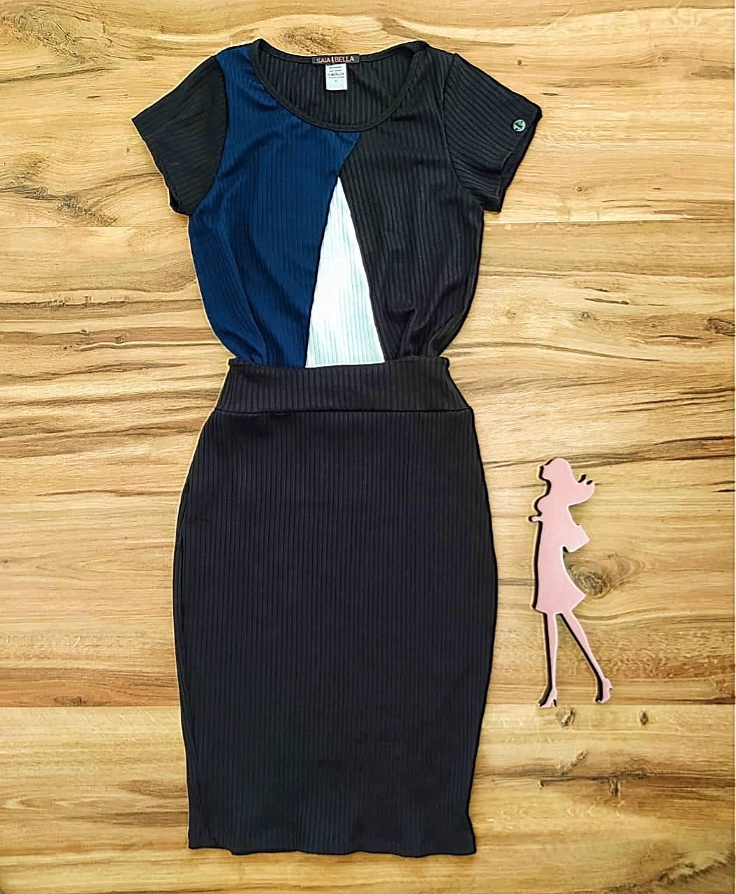 Vestido Hanna Saia Bella - SB700099_marinho