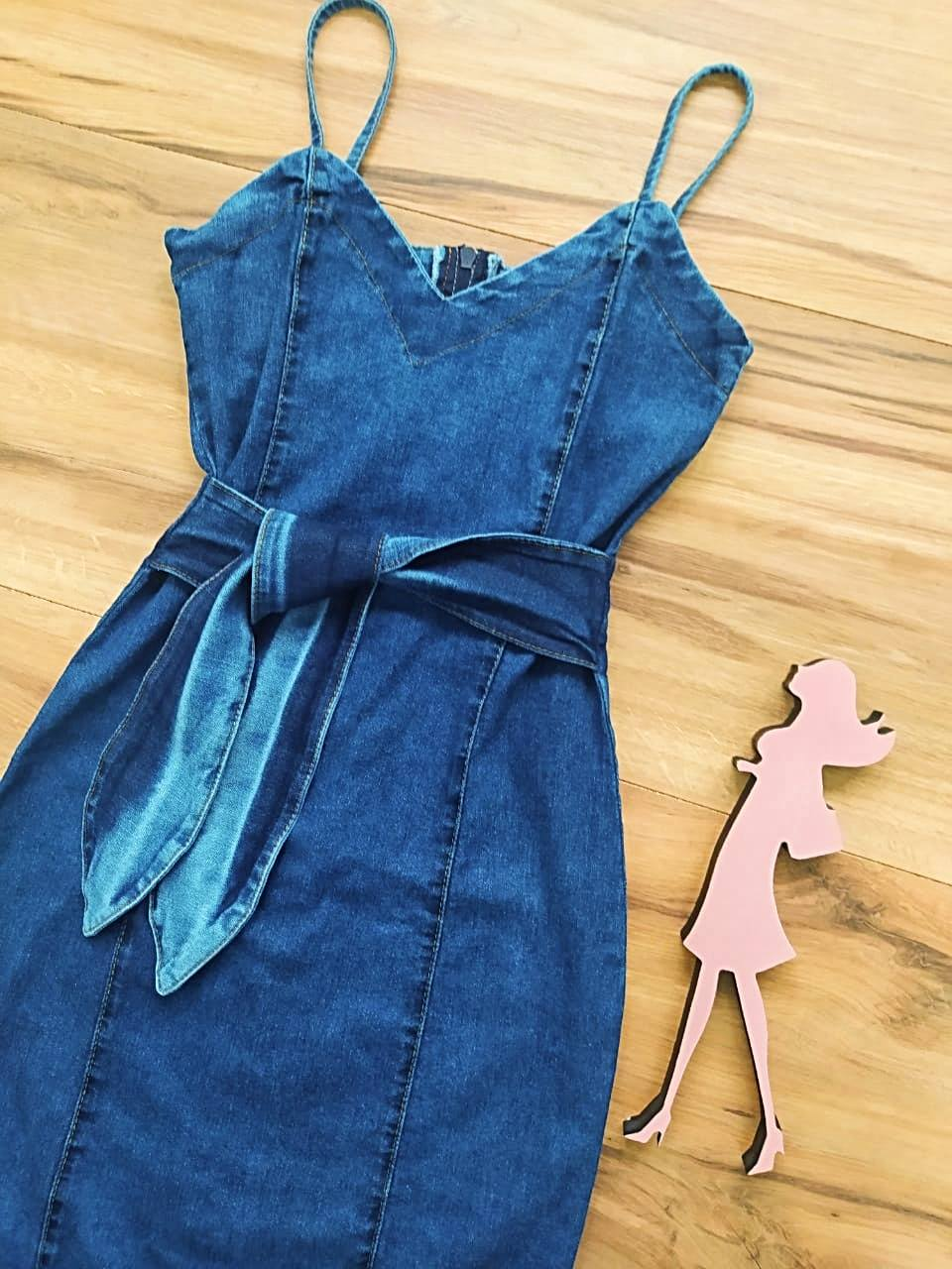 Vestido Jeans Luna Saia Bella SB5128