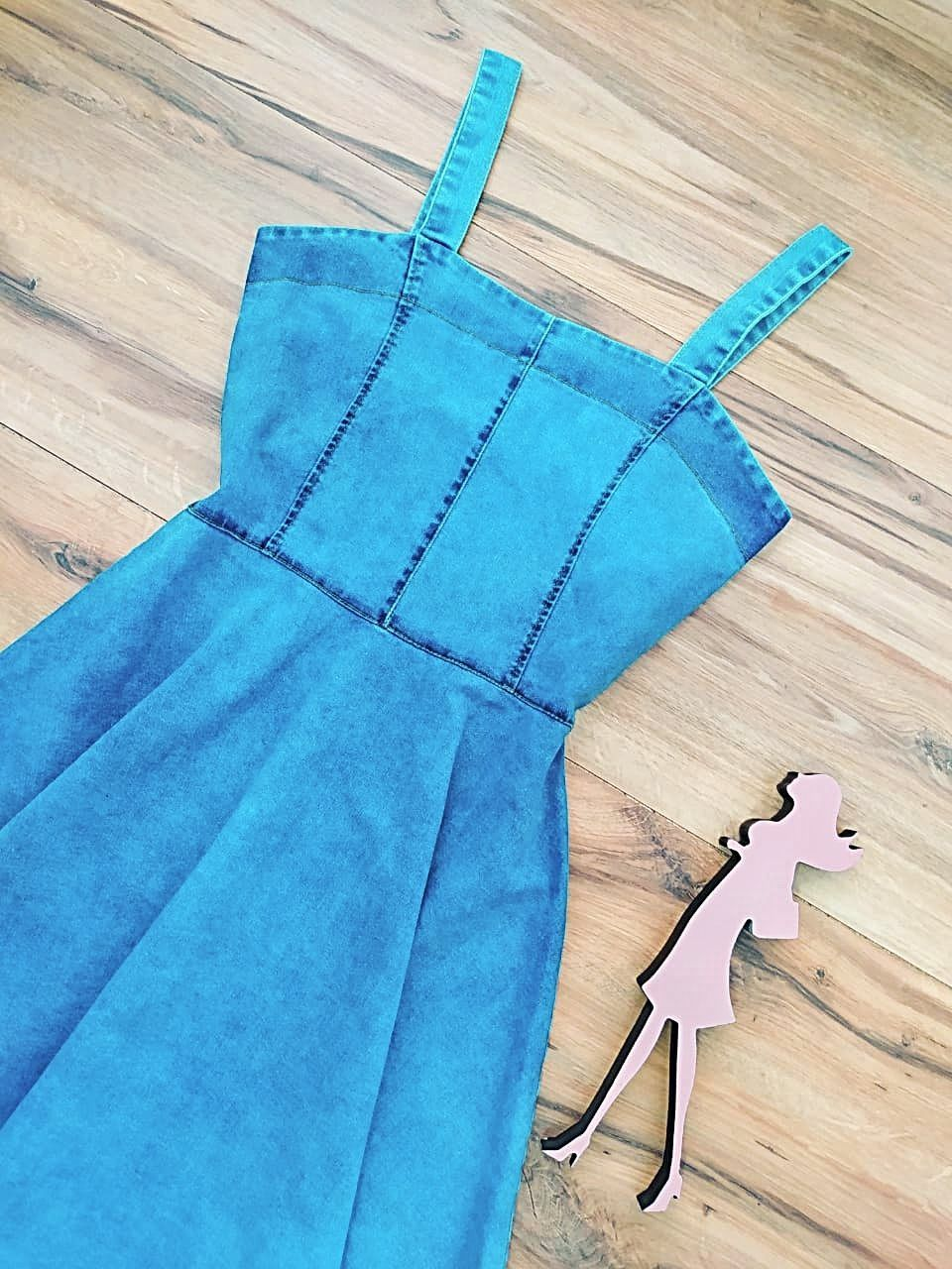 Vestido Jeans Brooklyn Saia Bella SB5604 - Azul Claro