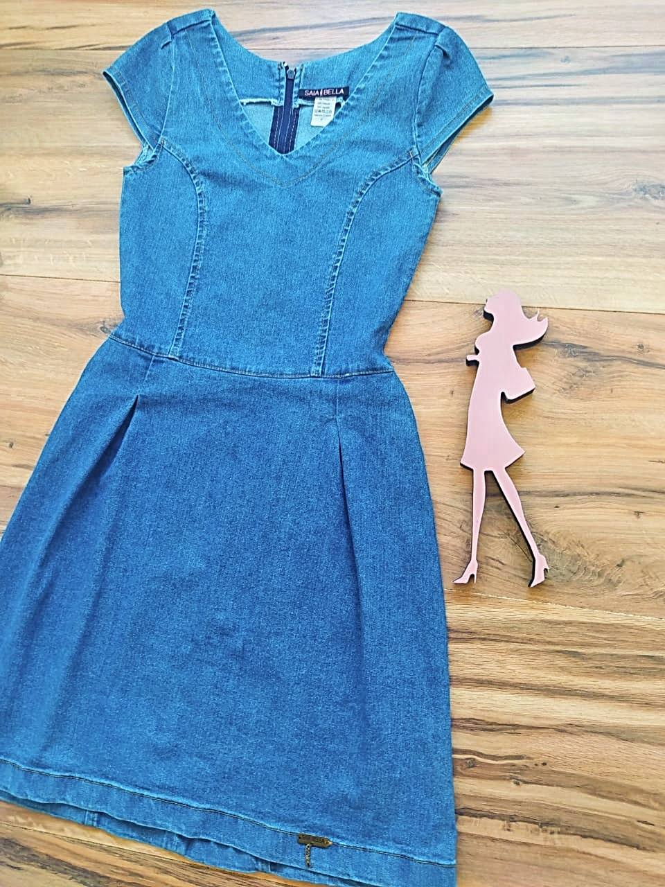 Vestido Jeans Dallas Saia Bella SB5603 - Azul Claro