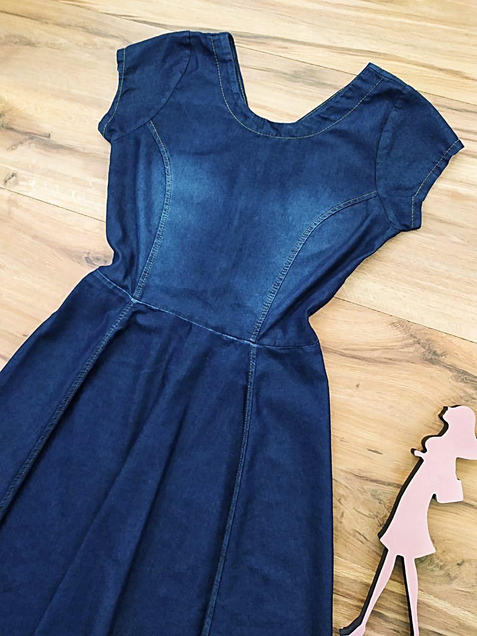Vestido Jeans Dallas Saia Bella SB5603 - Azul escuro