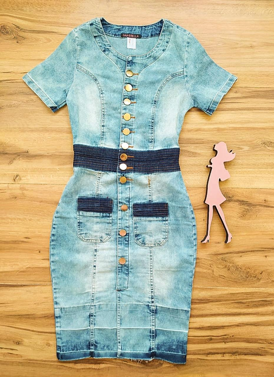 Vestido Jeans Gaya Saia Bella SB99310 - Azul Claro