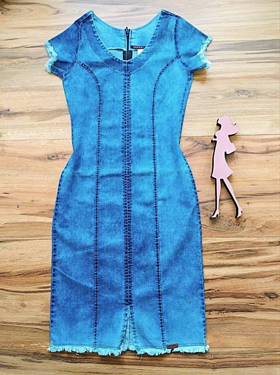 Vestido Jeans Los Angeles Saia Bella SB5612 Azul Claro