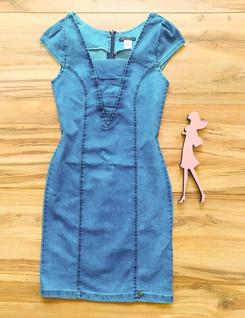 Vestido Jeans Rainha Saia Bella SB75102 Azul B