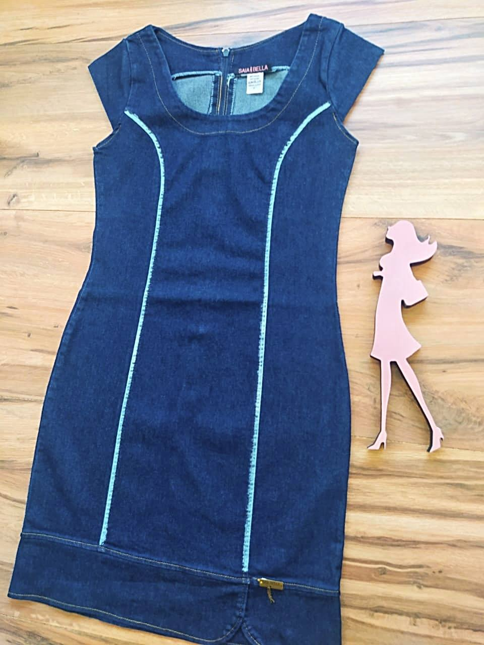 Vestido Jeans Rita Saia Bella SB5126 Azul Escuro