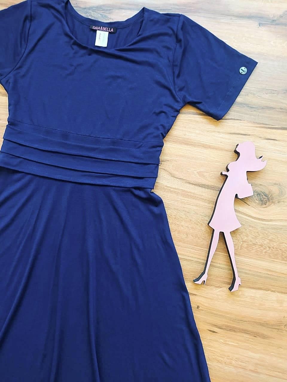 Vestido Joyce Transpassado Saia Bella SB39550 Azul Marinho