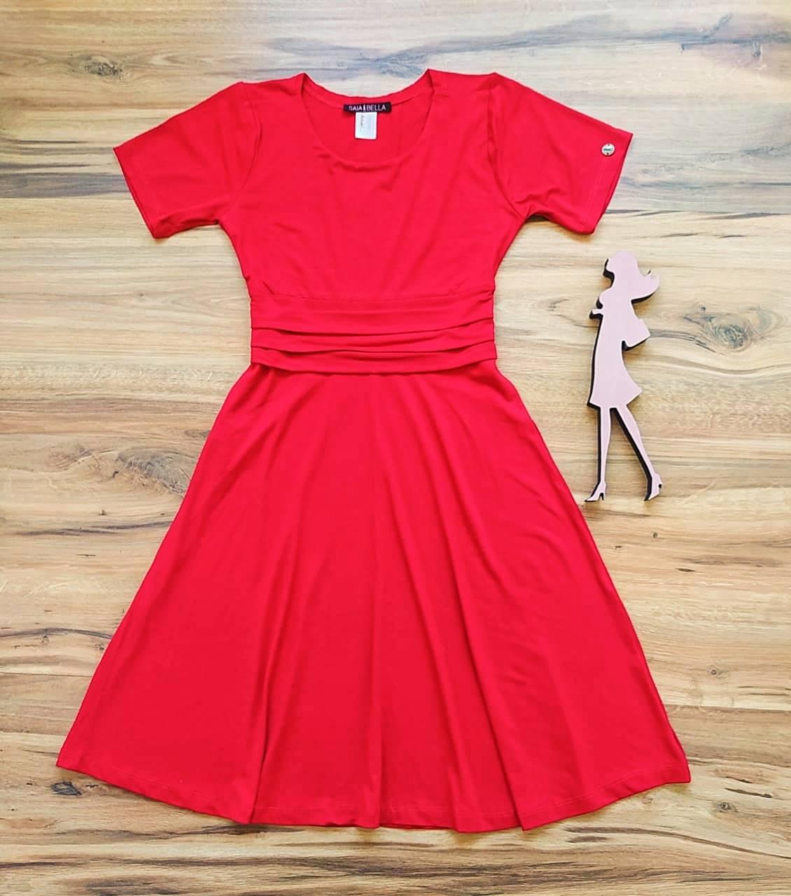 Vestido Joyce Transpassado Saia Bella SB39550 Vermelho