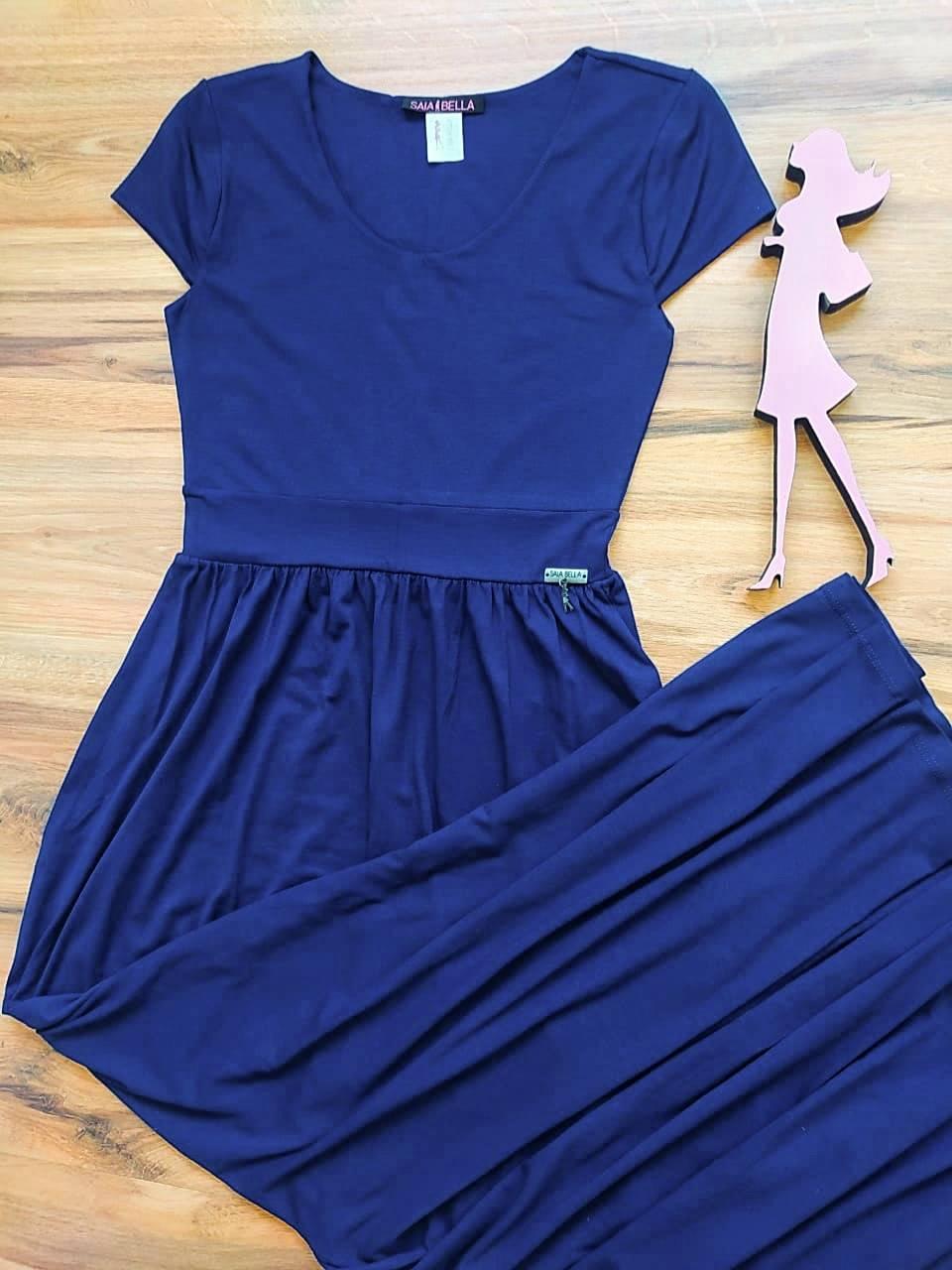 Vestido Koren modelo Longo Saia Bella SB3958 Azul