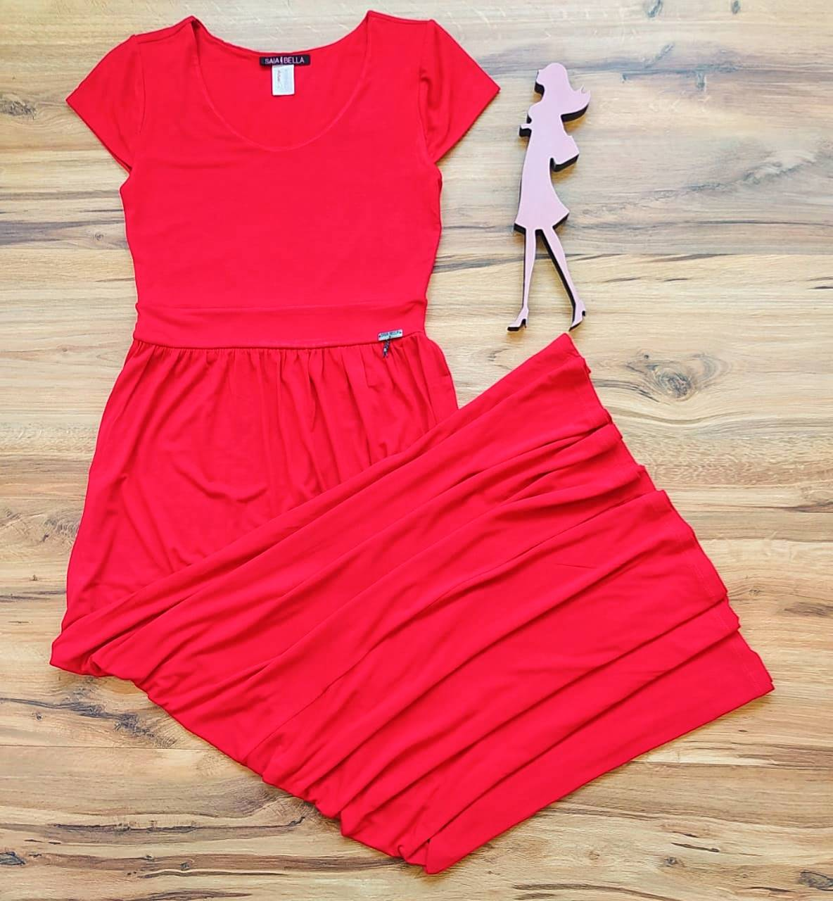 Vestido Koren modelo Longo Saia Bella SB3958 Vermelho