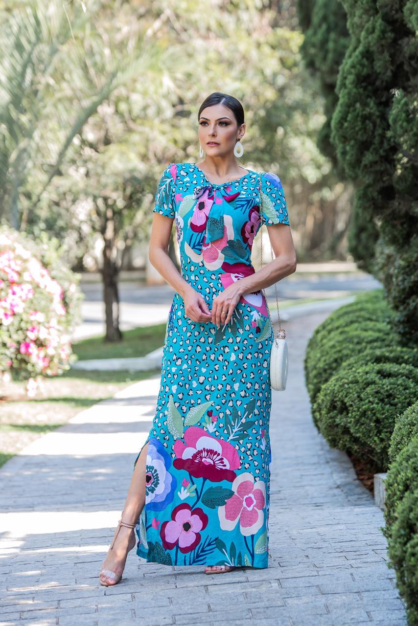 Vestido Longo Alice Azul Tiffany SBL1798A