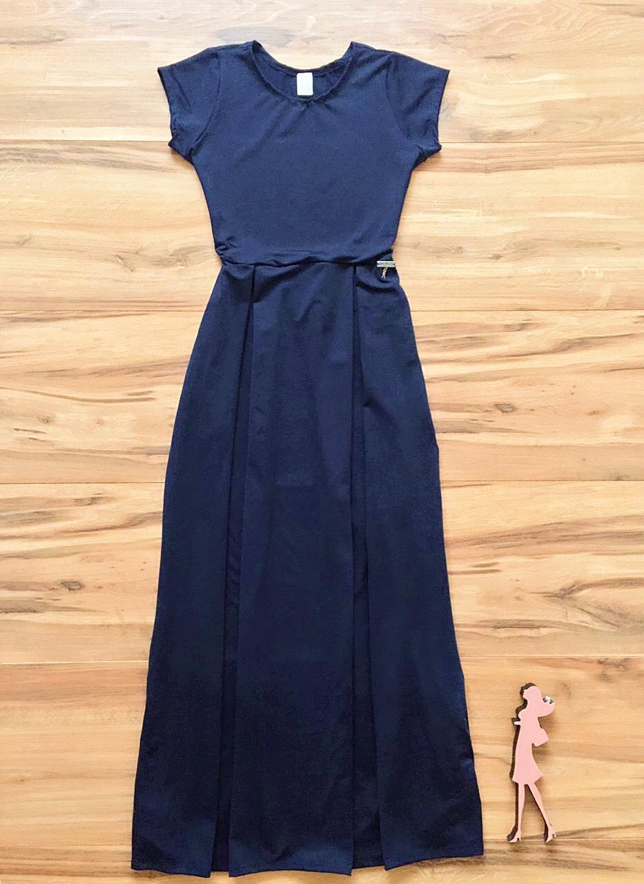 Vestido Longo Liso Saia Bella  SB857 Azul Marinho