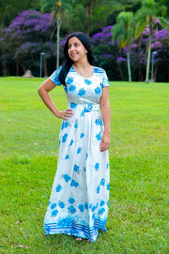 Vestido Longo Sonho Meu Saia Bella  SRB7777 Azul